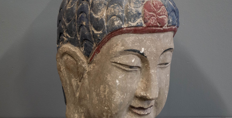 Carved and Painted Wooden Buddha Head
