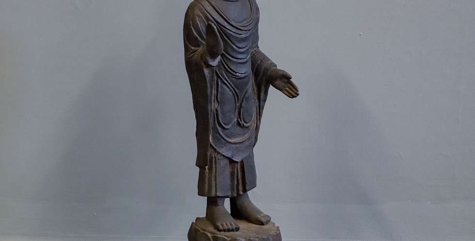 Chinese Standing Cast Iron Buddha