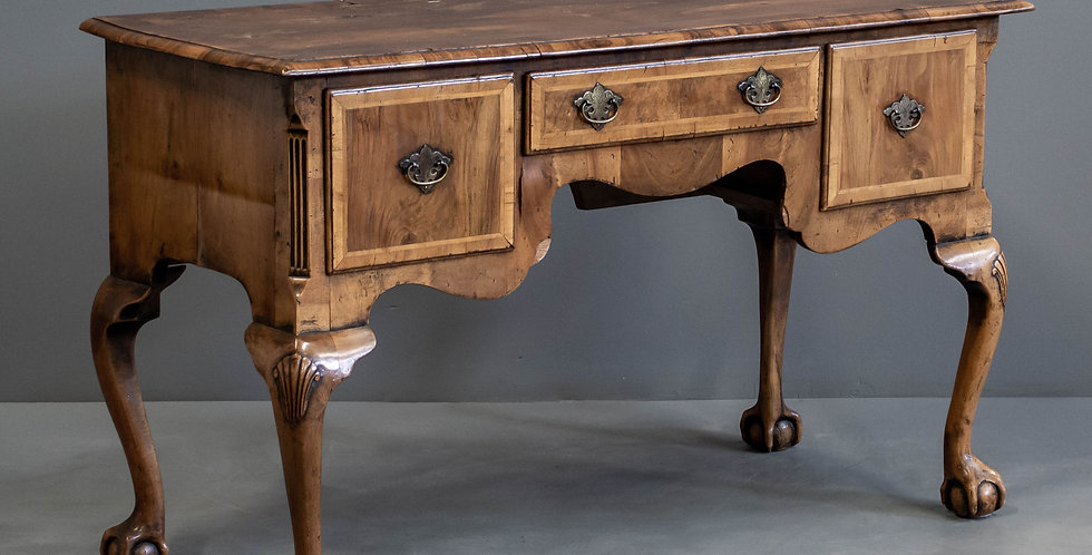 George II Walnut Veneered Writing Desk/Side Table