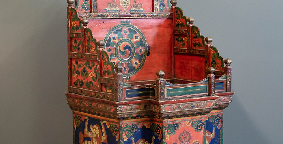 Antique Painted Tibetan Throne