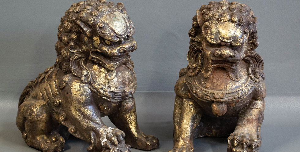 Pair of Chinese Cast Iron Foo Dogs