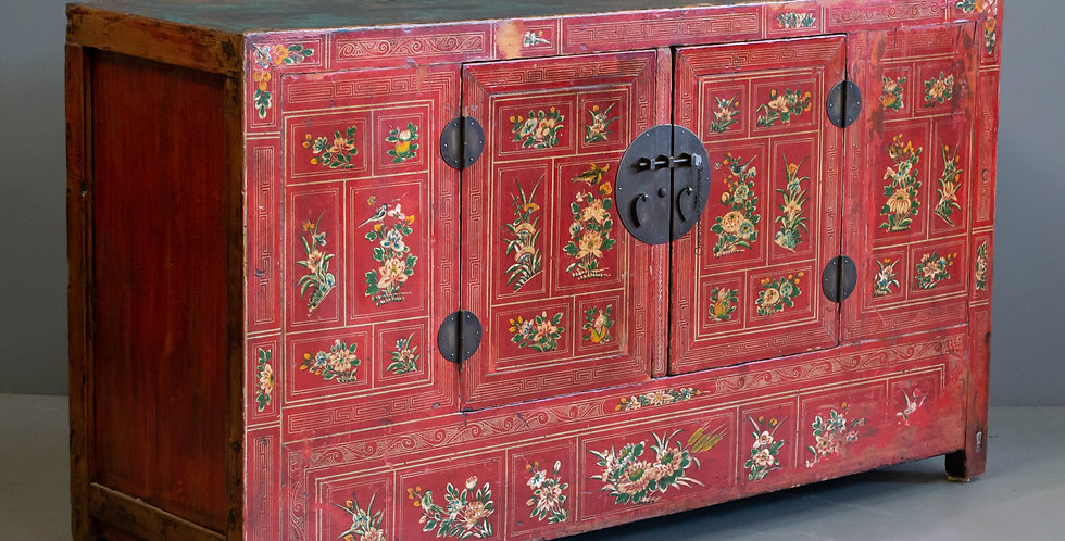 Antique Chinese Red Painted Dongbai CABINET/SIDEBOARD