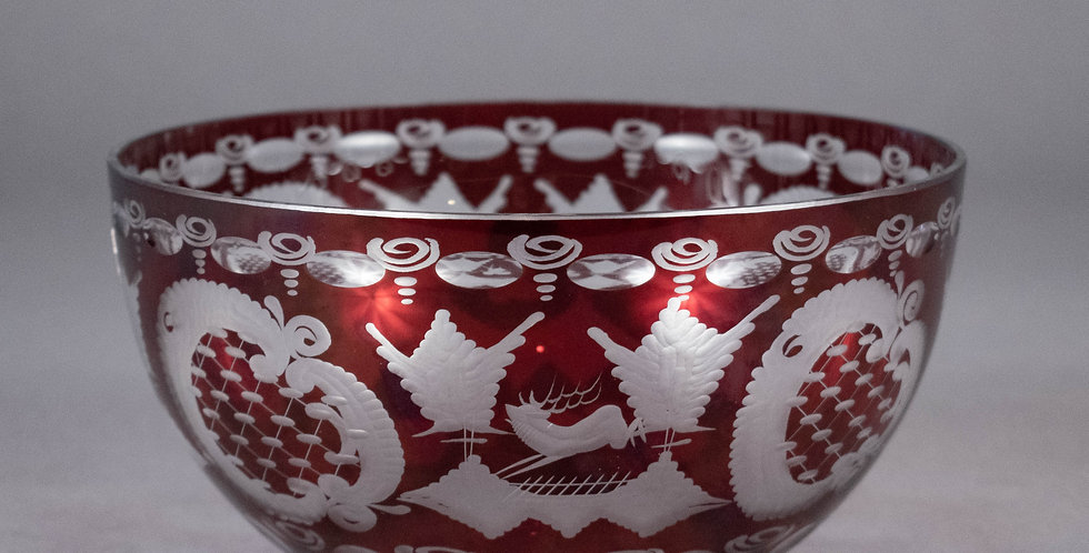 Vintage Red Czech Crystal Bowl