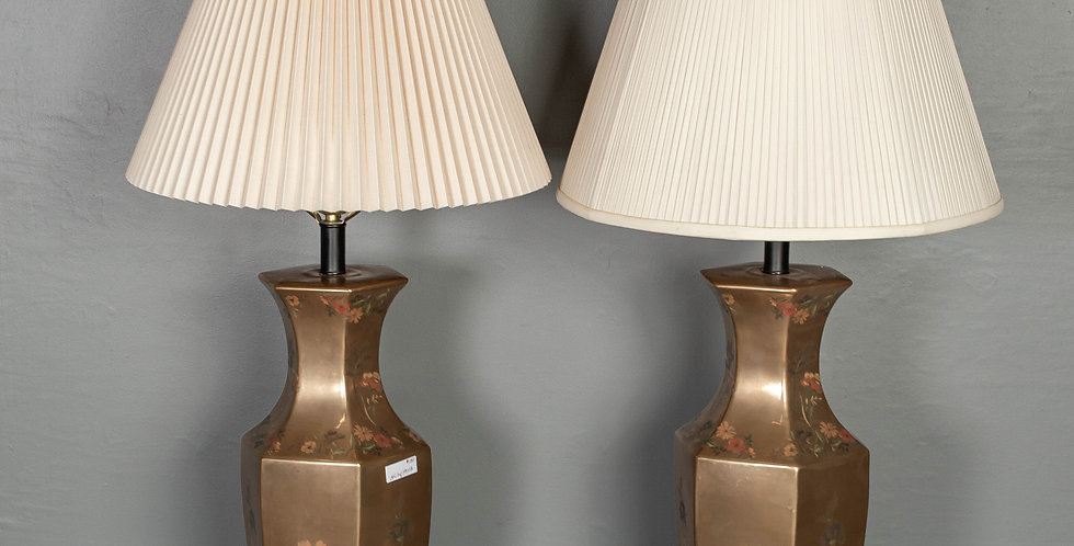 Pair of Gold Porcelain Table Lamps