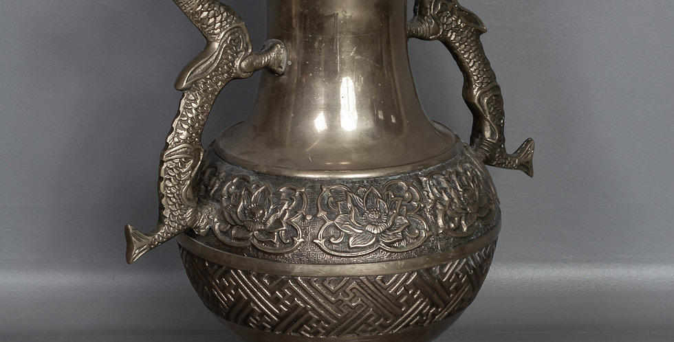 Brass Urn with Dragon Handles