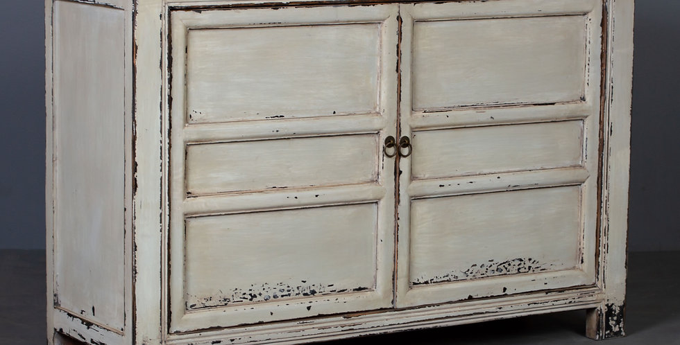 White / Pale Green-Yellow Painted Sideboard Cabinet