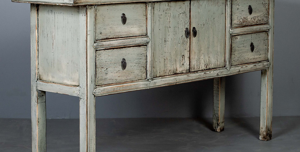 Distressed Gray / Green Lacquer Console Table / Cabinet