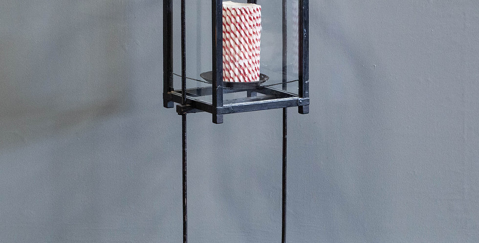Vintage Japanese Glass & Metal Candle Stand