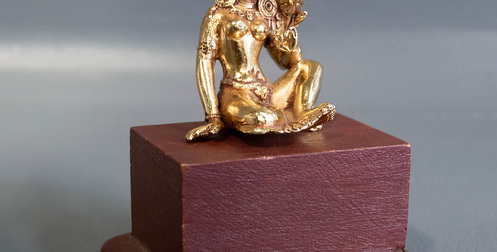 Small Gold Plated Bronze Female Bodhisattva on a stand