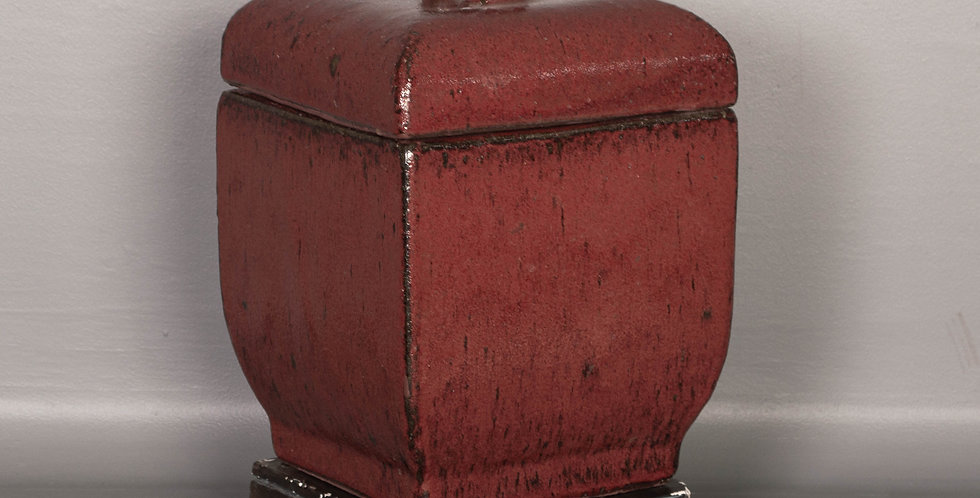 Red Square Terracotta Lidded Vase w/ stand