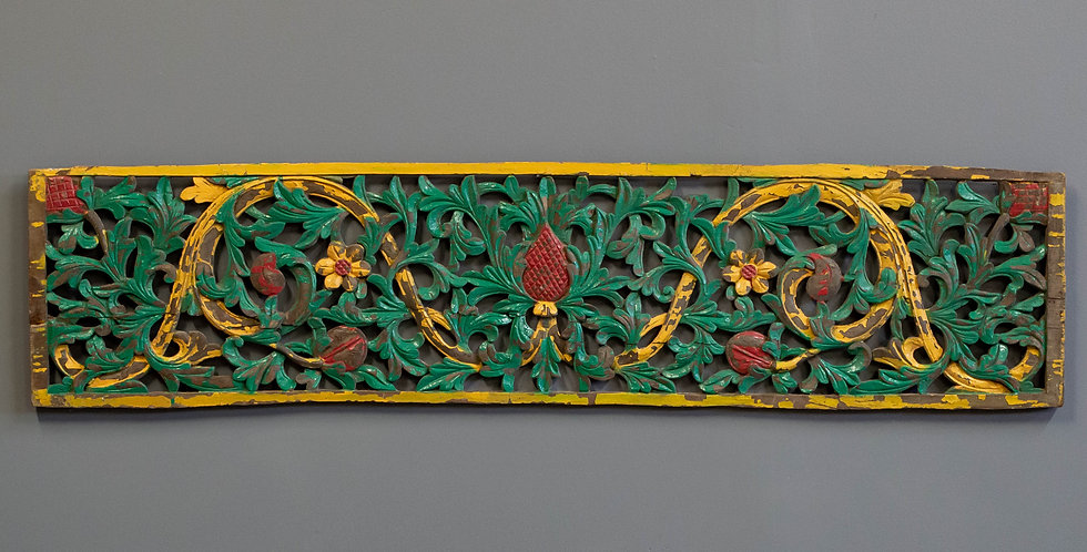 Carved and Painted Javanese Door Panel