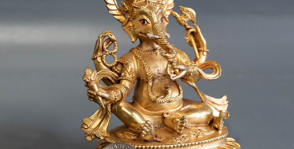 Small, Gold Plated Bronze Ganesh