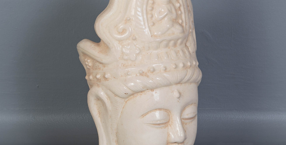 White Glazed Ceramic Buddha Head
