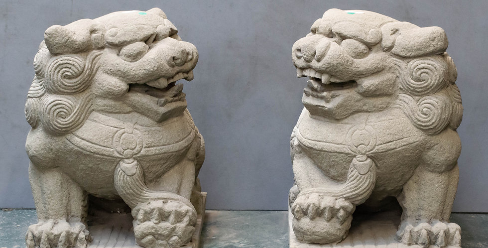 Pair of Large Carved Stone Foo Dogs