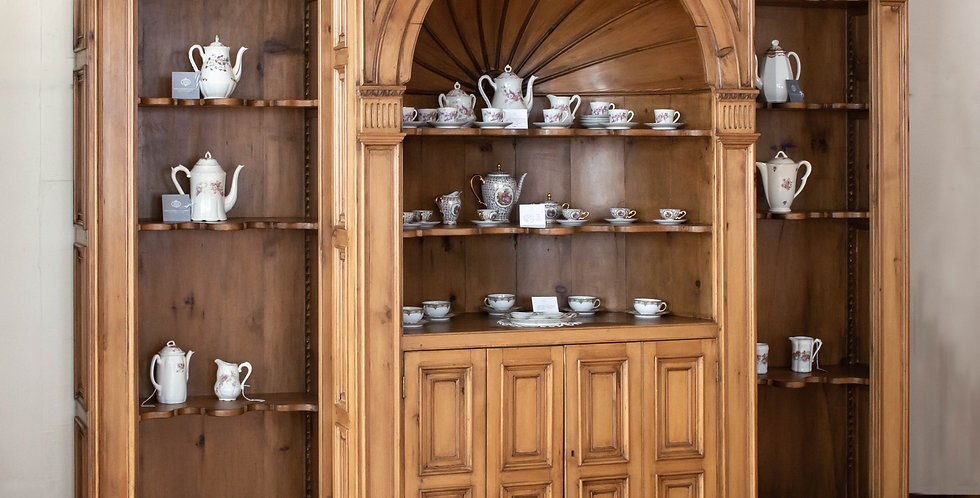 Large Antique English Pine Breakfront Bookcase
