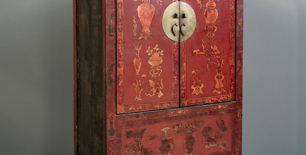 Antique Red Lacquered Chinese Armoire Cabinet
