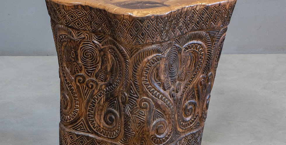 Hand Carved Wood Side Table
