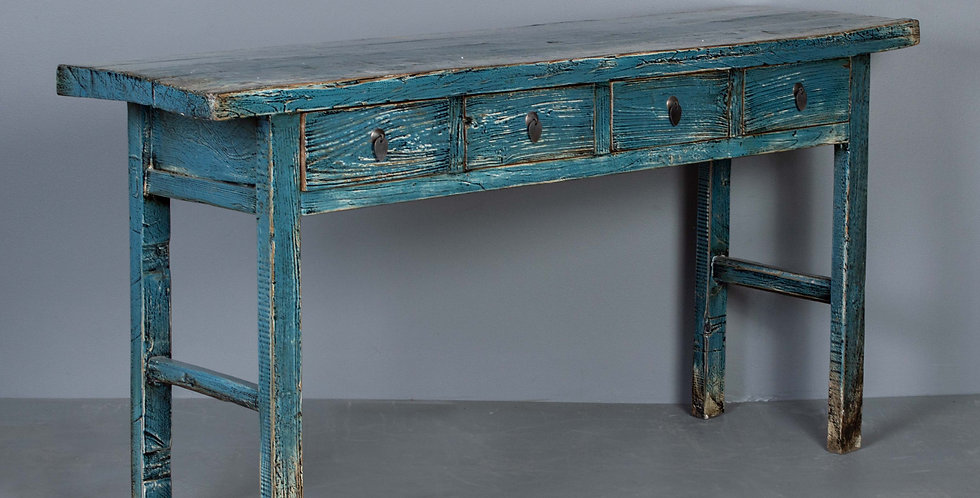 Blue Lacquered Chinese Elm Table