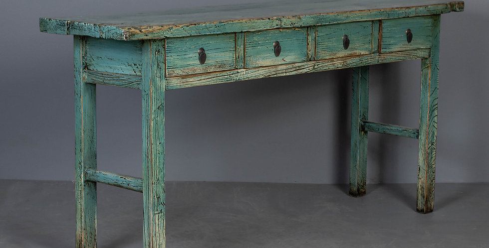 Green Lacquered Chinese Elm Table