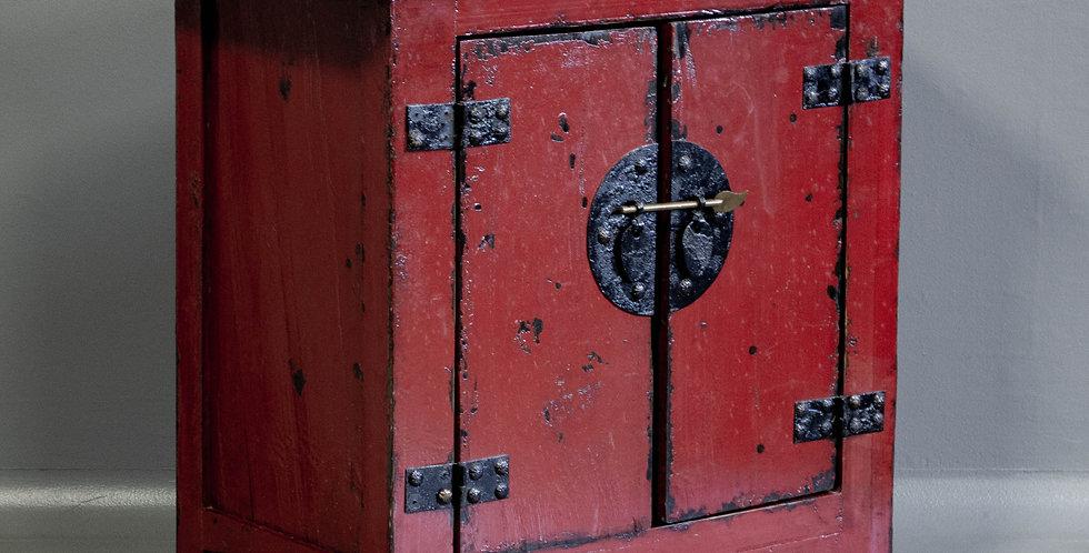 Small Vintage Red Lacquered Cabinet