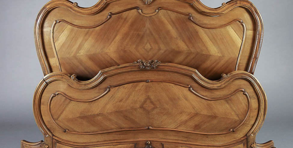 1920's Rocaille Hand Carved 4 Piece Bed Frame