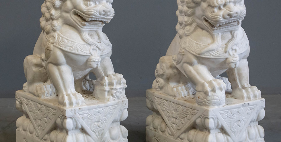 Pair of Carved Marble Foo Dogs