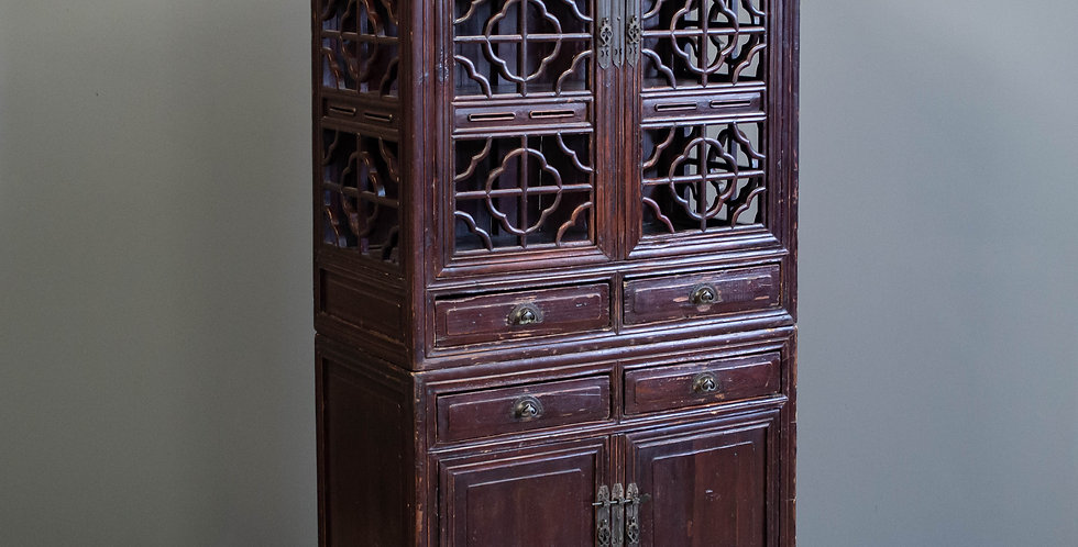 Antique 2 Door Red Lacquer Cabinet