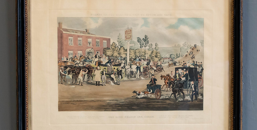 """Antique English Colored Engraving """"The Lord Nelson Inn, Cheam"""""""