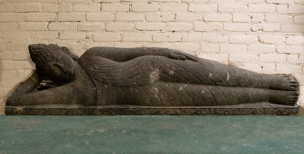 Monumental Hand Carved Reclining Buddha Sculpture