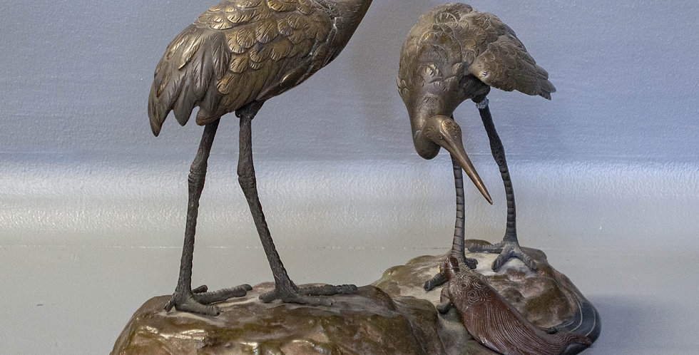 Japanese Bronze Statue of Two Storks &  Auspicious Turtle