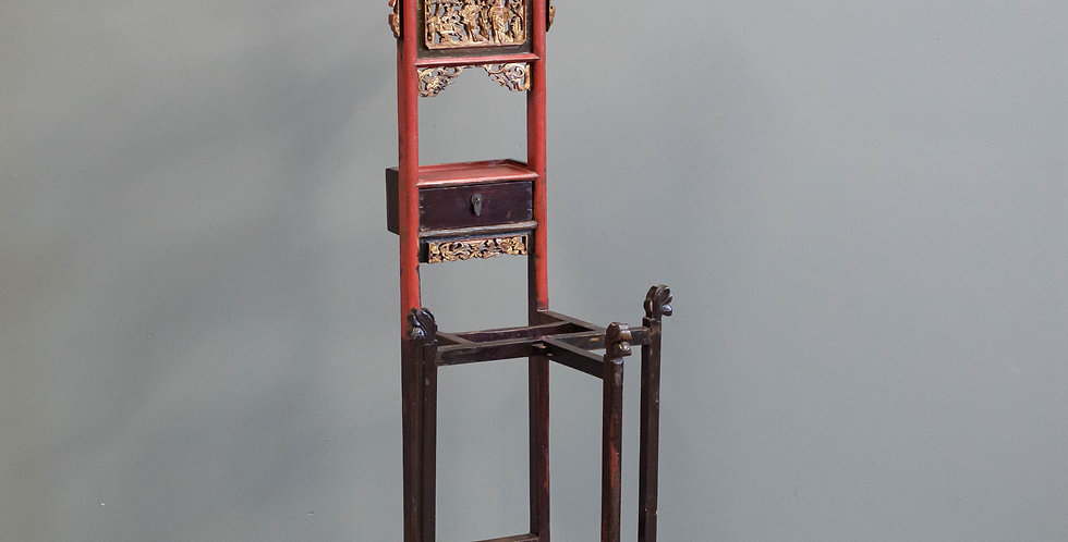 Antique Red Painted Chinese Pitcher & Bowl Stand