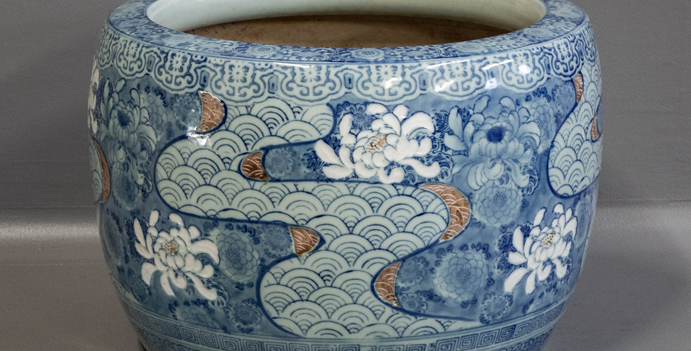 Large Blue & White Glazed Ceramic Hibachi