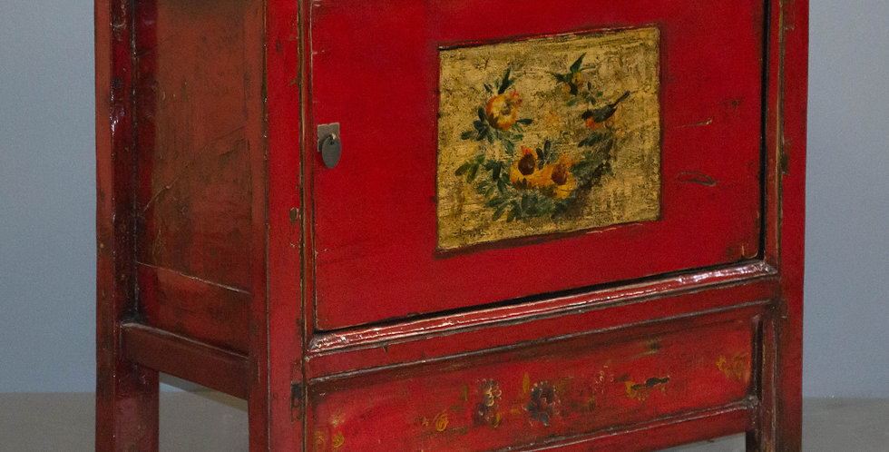Small Antique Red Painted Cabinet