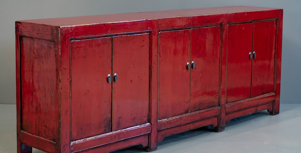 Long Red Painted Sideboard/Cabinet
