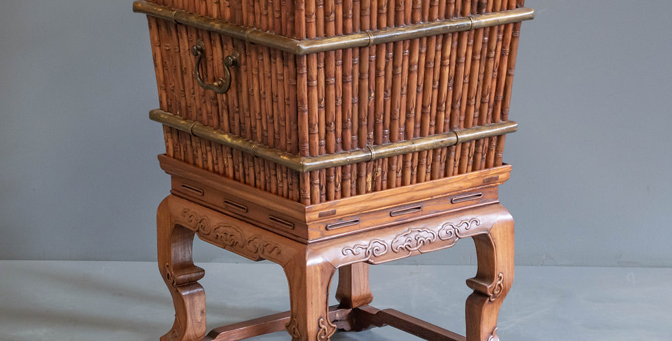 Carved Wood Faux Bamboo Hamper