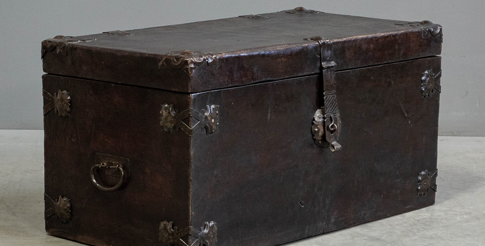 Antique Leather Clad Blanket Chest
