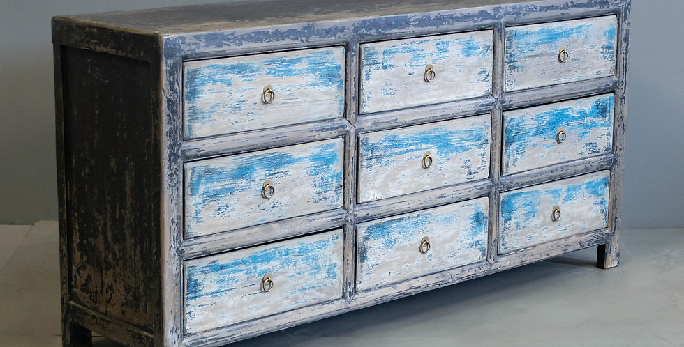 Long, Blue Painted Chinese Chest of Drawers