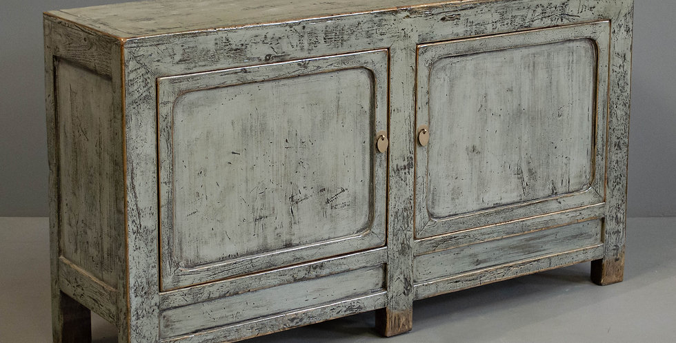 Chinese 2 Door Gray Painted Sideboard Cabinet