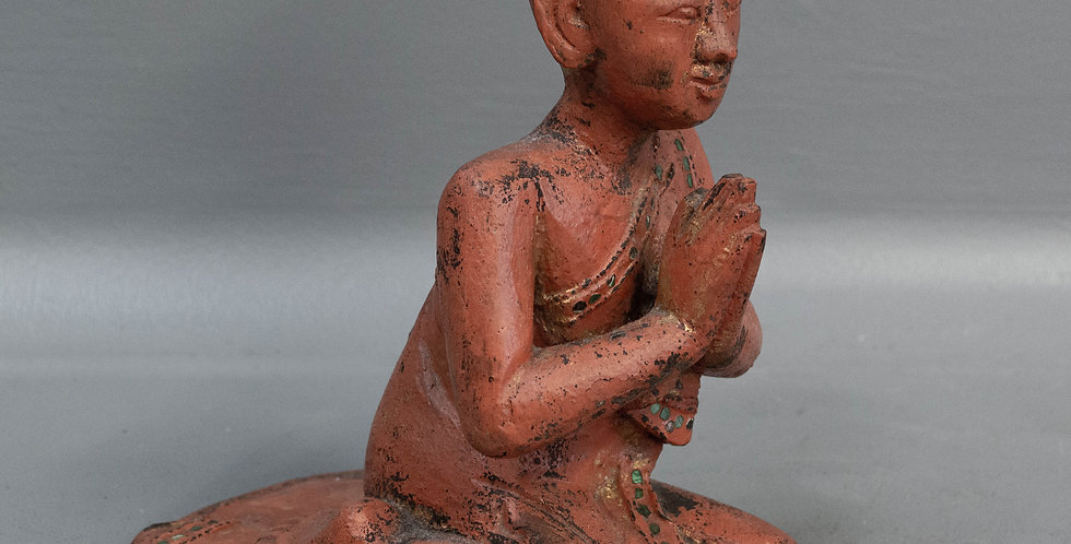 Carved & Painted Burmese Monk
