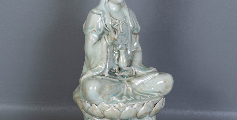 Glazed Ceramic Seated Quan Yin