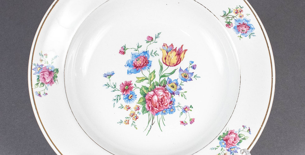Vintage French Country Flower Round Soup Plate