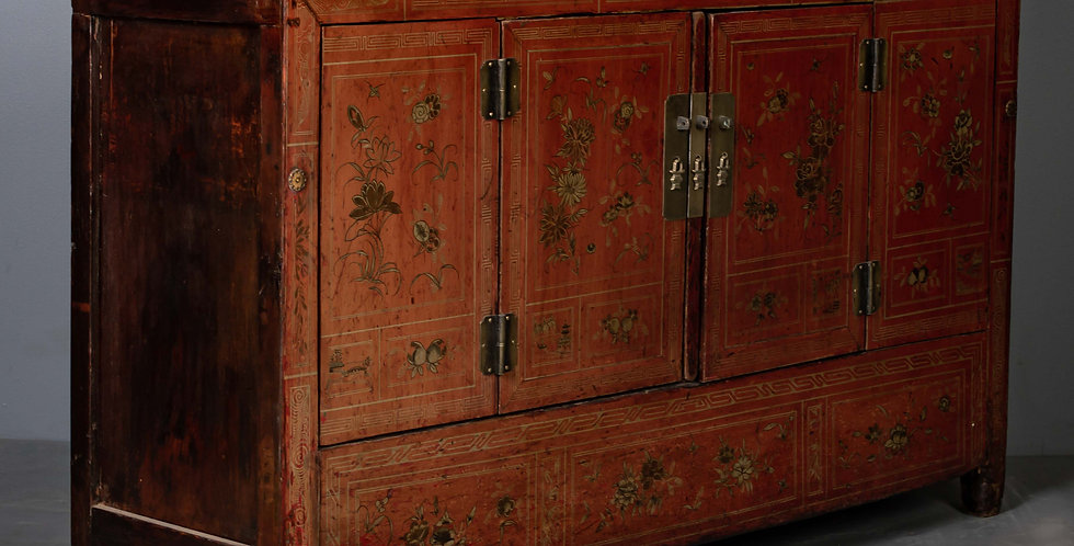 Red Painted Antique Chinese Sideboard / Cabinet