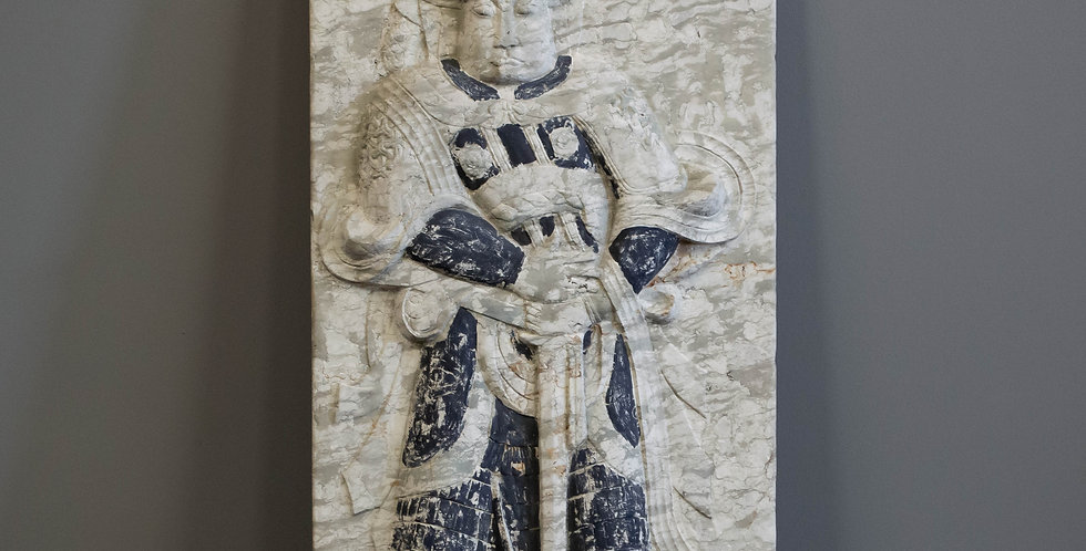 Carved Chinese Stone Guardian Figure Panel