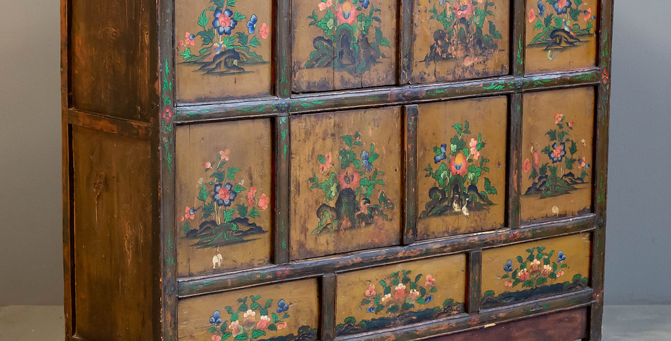 Antique Painted Tibetan 4 Door Cabinet