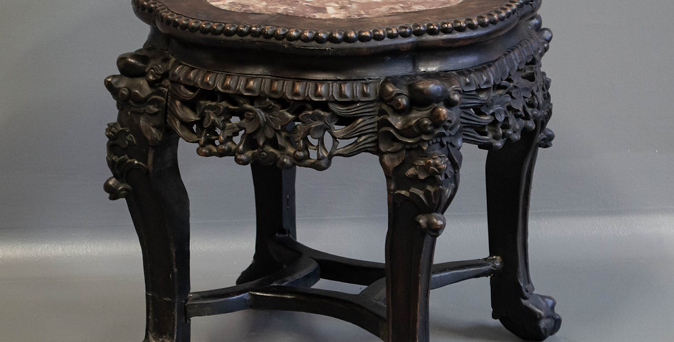 Antique Chinese Carved Marble Top Stool