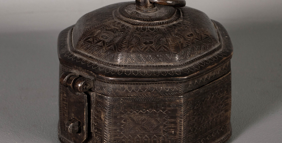 Antique Brass Lidded Box From India