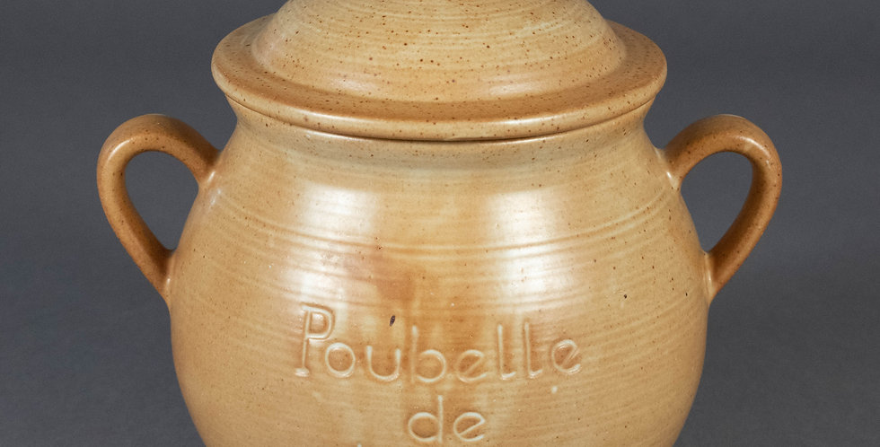 """French Earthenware """"Poubelle De Table"""" with Lid"""