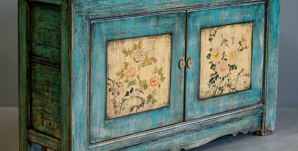 Blue Painted Chinese Two Door Cabinet/Sideboard