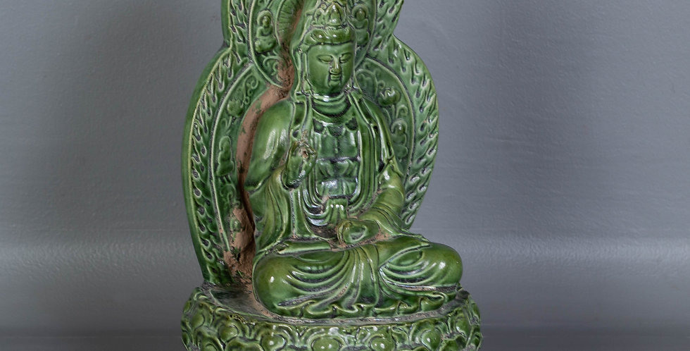 Seated Buddha Sculpture, Green