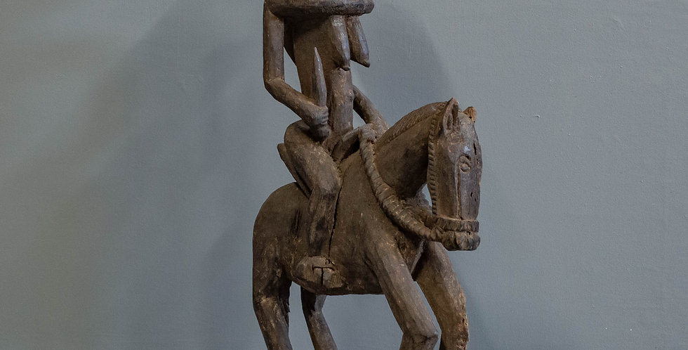 Vintage, Carved Dogon Tribal Horse and Rider Sculpture